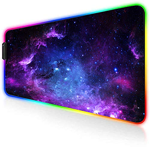 AILRINNI RGB Tapis de Souris Gaming - Grand Tapis de Souris XXL 800x300mm, 14 Modes LED Lumineuse Tapis de Souris, Surface Antidérapante pour Gamer - Ciel étoilé