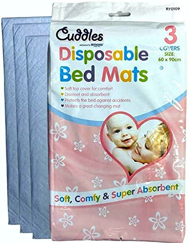 Disposable Bed Mats for Adults Kids Baby Super Absorbent Large Sheets Mattress Protector Dry Nights Protection Plus Pads Incontinence Waterproof Changing Protectors Babies Mat 60 X 90 cm 3 Pack