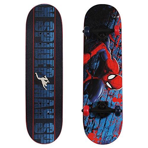 PlayWheels Ultimate Spider-Man 28 Inch Complete Skateboard - Beginner Trick Skateboard for Kids - Spider-Crawl (166437)