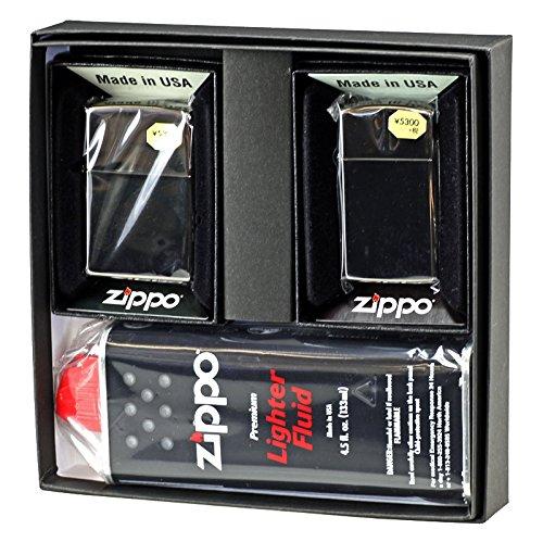 【ZIPPO】 ジッポーライター オイル ライター ペア 大人気ブラックアイスジッポ レギュラー&スリム 2個セット ペアセット専用パッケージ入り(オイル缶付き)