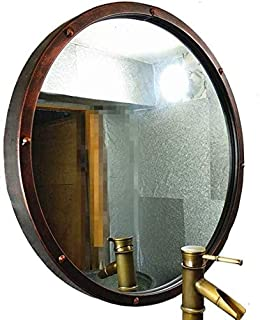 Daily Necessities Industrial Style Circular Hanging Vanity Mirror Large Metal Frame Round Make-up Cosmetic Mirrors (Size : 80cm) (Size : 80cm)