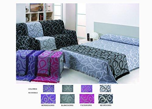 HIPERMANTA Colcha Foulard Multiusos Jacquard Modelo Nudos para sofá y para Cama, Algodón-Poliéster, 230x280 cms. Negro-Gris. Colores Reversibles.