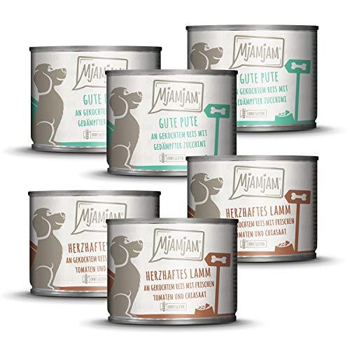 MjAMjAM - Premium Nassfutter für Hunde - Monopaket 1 - mit Lamm und Pute, 6er Pack (6 x 200 g), naturbelassen mit extra viel Fleisch