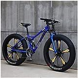 Gnohnay Mountain Bike, Mountain Bike Hardtail da 26 Pollici con Pneumatici rigidi, Telaio a Doppia Sospensione e Forcella Ammortizzata per Mountain Bike per Tutti i Terreni,Blue 5 Spoke,27 Speed