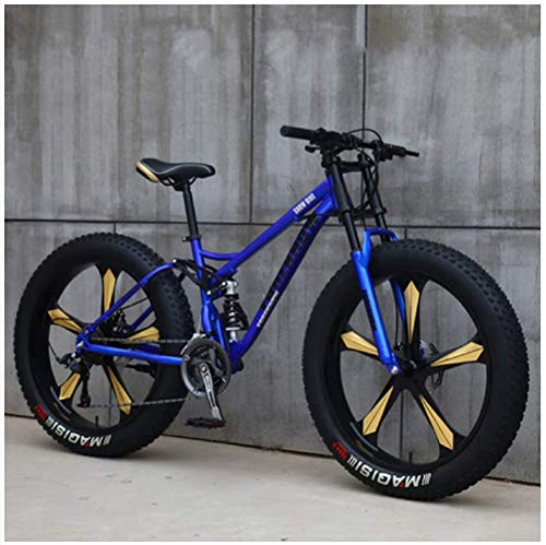 Gnohnay Mountain Bike, Mountain Bike Hardtail da 26 Pollici con Pneumatici rigidi, Telaio a Doppia Sospensione e Forcella Ammortizzata per Mountain Bike per Tutti i Terreni,Blue 5 Spoke,27 Speed