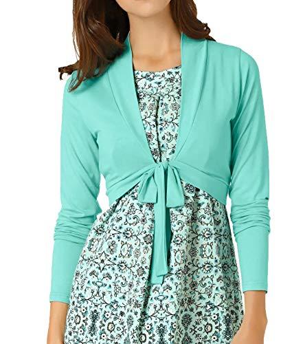 Linea TESINI Jacke Jäckchen Cooler Damen Shirt-Bolero mit Bindeband Kurz-Jacke Langarm-Bolero Mint, Größe:42