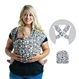 Baby K'tan Print Baby Wrap Carrier, Infant and Child Sling - Simple Pre-Wrapped Holder for Babywearing - No Tying or Rings - Carry Newborn up to 35 lbs, Floral Garden, S (W Dress 6-8 / M Jacket 37-38)