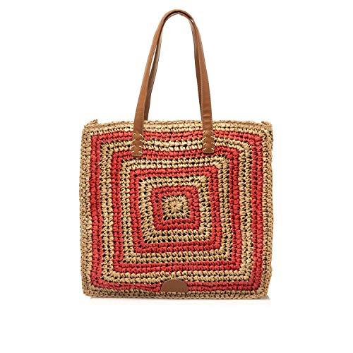 MTNG PALMIS, Shopper para Mujer, Rojo (Rafia Natural/Rojo), 12x36x39 cm (W x H x L)