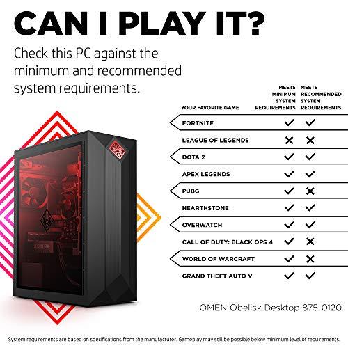 Omen by HP Obelisk Gaming Desktop Computer, Intel Core i5-9400F Processor, NVIDIA GeForce GTX 1660 6 GB, HyperX 8 GB RAM, 512 GB SSD, VR Ready, Windows 10 Home (875-0120, Black)
