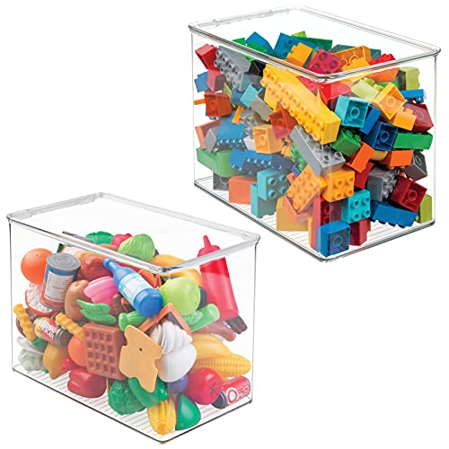 """mDesign Stackable Closet Plastic Storage Bin Box with Lid - Container for Organizing Child's/Kids Toys, Action Figures, Crayons, Markers, Building Blocks, Puzzles, Crafts - 9"""" High, 2 Pack - Clear"""