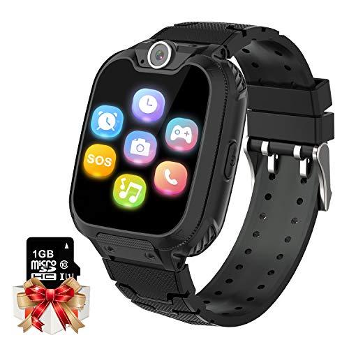 Smartwatch für Kinder, Musik Kinder Smartwatch [1 GB Micro SD Enthalten] Uhr Telefon mit SOS Anruf Kamera Spiel Wecker Rechner Geschenke Geburtstag für Junge Mädchen