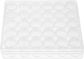 Fdit Klar behållare rund liten rektangulär plastförvaringslåda för smycken örhängen pärlor ringar (paket med 30)