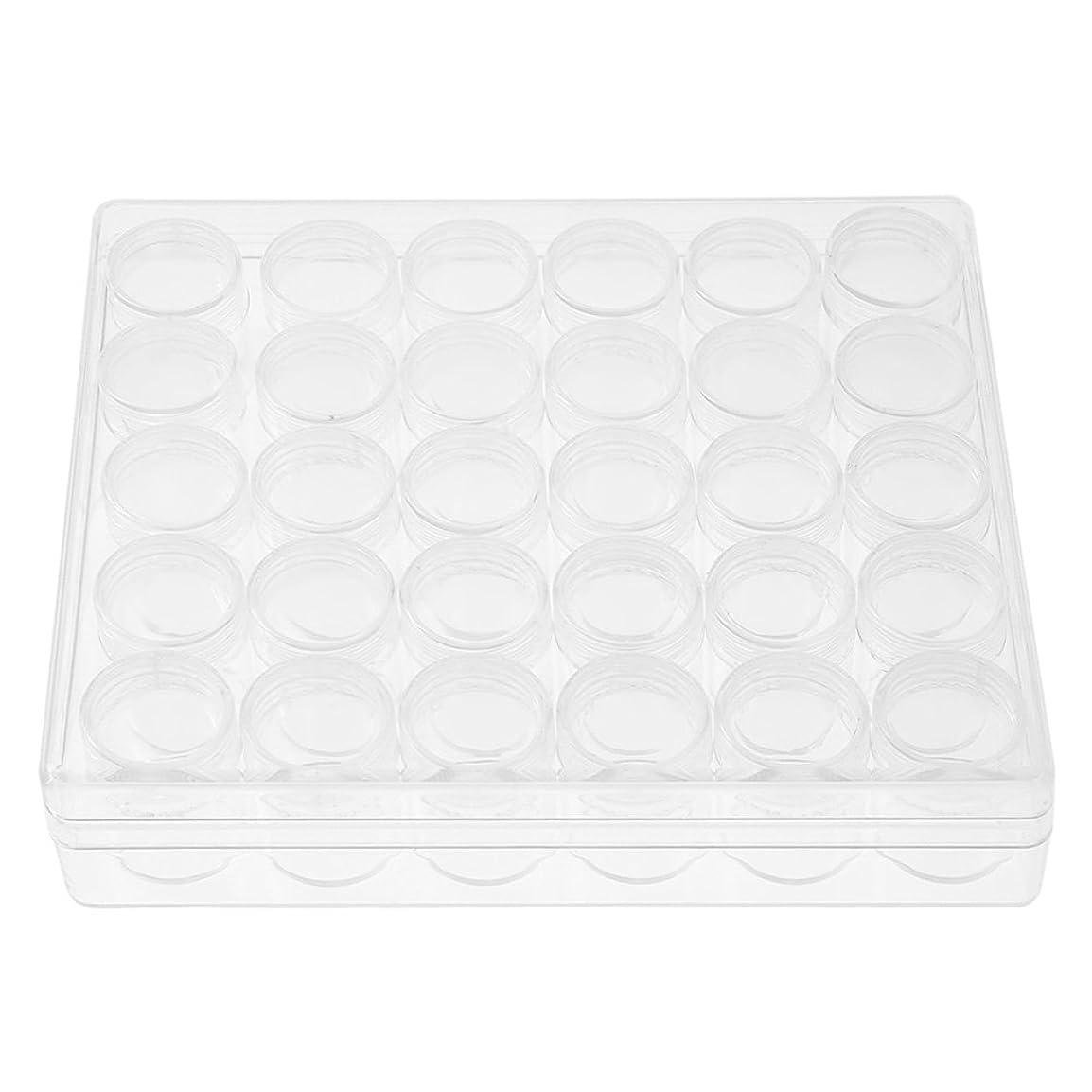 掻く振動させる被害者30個 透明 プラスチック製 容器瓶 詰替容器 ラインストーン ビードの貯蔵 長方形の箱付き 円形
