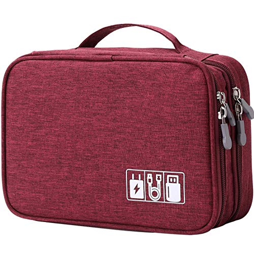Travel Cable Organizer Bag, Electronic Accessories Case Portable Double Layer Cable Storage Bag for Cord,Phone,Charger, Flash Drive, Phone, SD Card,Personal Items - (Red)