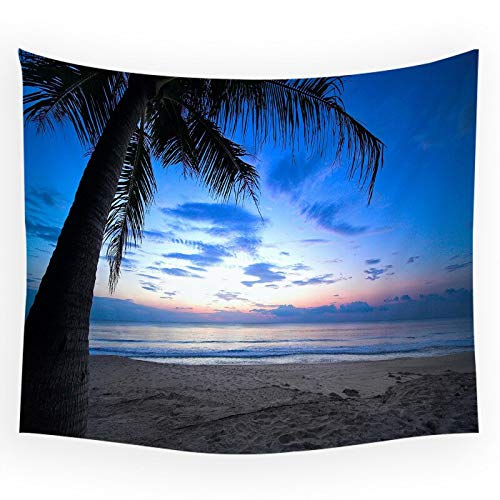 WERT Seaside Beach Pier Scenery Coconut Tree Sunset Moon Pattern Tapiz Fondo de la Sala de Estar Dormitorio Arte Manta de Pared A5 180x200cm