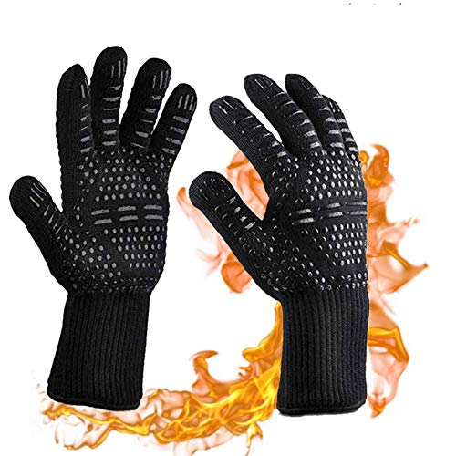 Adocfan BBQ Grill Gloves Cooking Gloves 1472°F Extreme Heat Resistant Silicone NonSlip Cooking Gloves for Grilling Baking Cooking 1 Pair Black