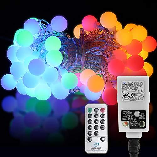 Lichterkette bunt aussen,HAUSPROFI 100 LEDS Lichterkette Kugeln, Party Lichterkette mit EU Stecker für Innen und Außen, 10M, 8 Mode, Strombetrieben, Partylichterkette für Weihnachten, Party, Balkon