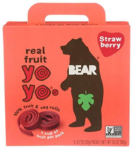 BEAR - Real Fruit Yoyos - Strawberry - 0.7 Ounce (5 Count) - No added Sugar, All Natural, non GMO, Gluten Free, Vegan - Healthy on-the-go snack for kids & adults