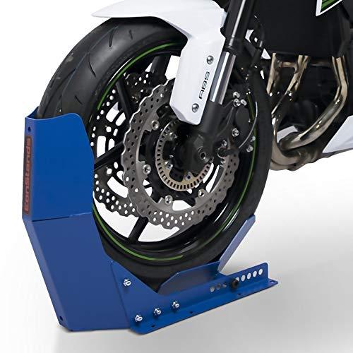 ConStands Easy Transport Fix - Motorrad Wippe Matt für Anhänger Vorderrad Transportständer Motocross Roller Blau