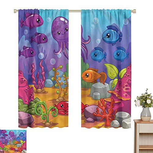 June Gissing Whale Curtains/Panels/Drapes Underwater World Aquarium Room Divider Curtain Screen Partitions W63 x L63