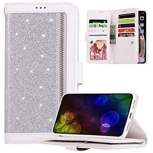 Étui Coque Samsung Galaxy A71,Housse Protection en Cuir à Rabat Portefeuille Etui Bling Glitter Paillettes Brillant,JAWSEU Pochette Flip Case avec[9 fente pour Cartes]Coque pour Galaxy A71(Argent)