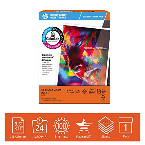HP Printer Paper BrightWhite 24lb, 8.5x 11, Trial Pack, 150 Sheets, Made in USA From Forest Stewardship Council Certified Resources, 100 Bright, Acid Free, Engineered for HP Compatibility, 203500R