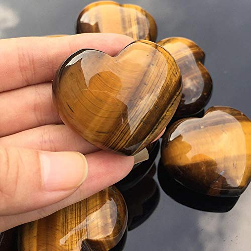 Piedra de Ojo de Tigre Natural de 3abril, 25 x 25 x 12 mm, Piedras semipreciosas en Forma de corazón pulidas con Forma de corazón curativo