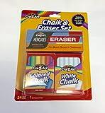 Cra-Z-Art Chalk & Eraser Set #24 Chalk Sticks (12 Colored + 12 White Chalk)