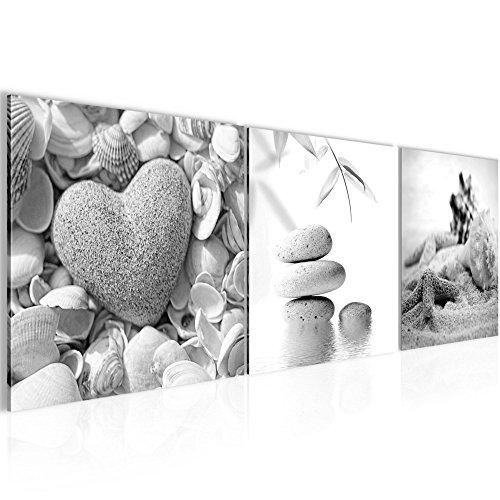 Wandbild Feng Shui Muscheln Bilder 120 x 40 cm Vlies - Leinwand Bild XXL Format Wandbilder Wohnzimmer Wohnung Deko Kunstdrucke Grau 3 Teile - MADE IN GERMANY - Fertig zum Aufhängen 501633c