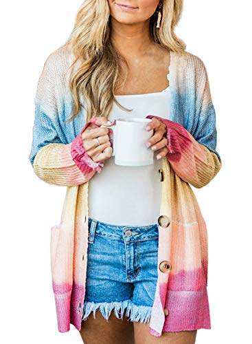 Elapsy Womens Color Block Striped Draped Kimono Cardigan Long Sleeve Open Front Button Down Knit Sweaters Coat Soft Outwear Multi M