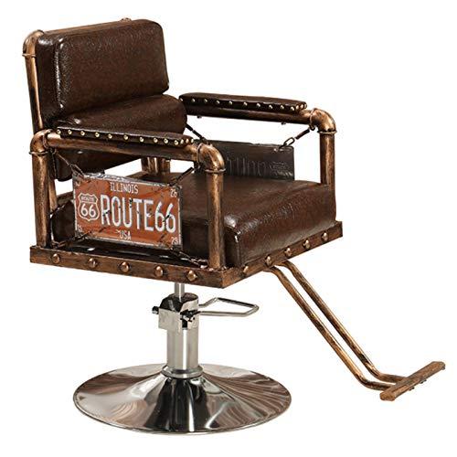Sillón Vintage Profesional de Peluquería Barbero Tattoo, 360º Giratoria, Sillón Ajustable Altura Regulable, Salón de Belleza, SPA,B