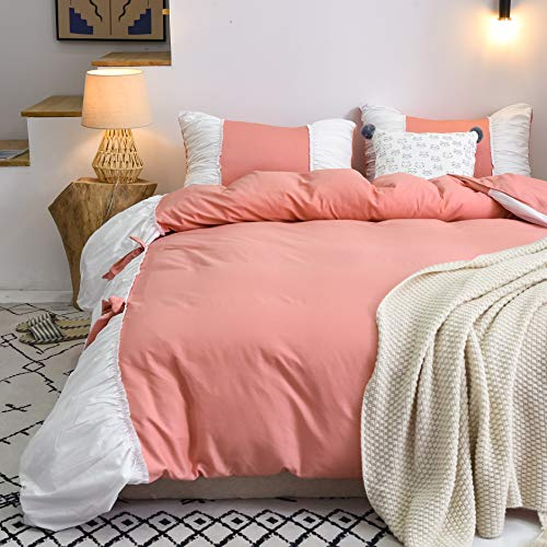 FADFAY Farmhouse Bedding Pinch Pleat Comforter Sets King Szie |Premium 100% Cotton Ultra Soft | Coral Pink White Duvet Cover with Zipper Closure Princess Home Decoration Bed Bedding- No Comforter