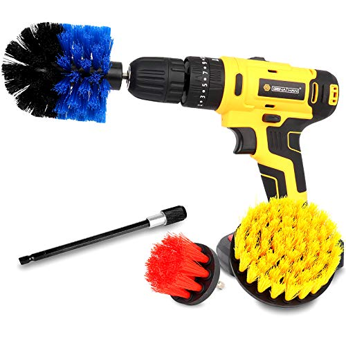 Drill Brush Power Scrubber Brush Cleaning Set 4PCS,Drill Scrub Brushes Kit with Long Attachment,Suitable for Bathroom surfaces, Tiles, Sinks, Kitchens and Cars Mix colors(Drill NOT Included)