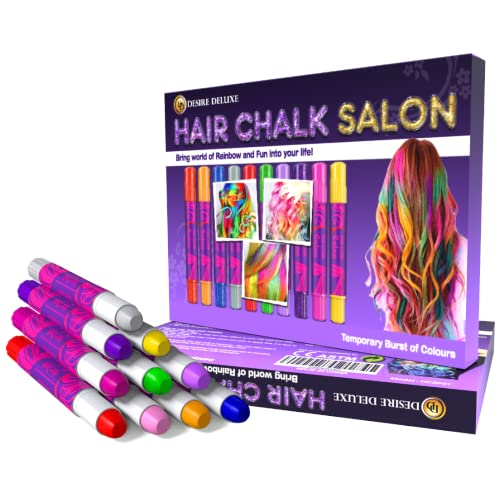 Desire Deluxe Hair Chalk Gift for Girls - 10 Temporary Non-Toxic Easy...