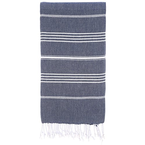 Cacala 100% Cotton Pestemal Turkish Bath Towel, 37 x 70', Dark Blue -...