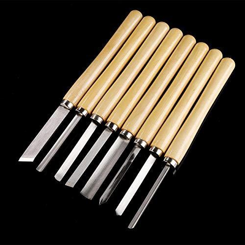 Cinceles de torneado de Madera antioxidante, 8pcs/Set Juego de cinceles de Torno de Madera Herramientas de torneado Gubia de carpintería Separación Oblicua, Cinceles de Talla duraderos