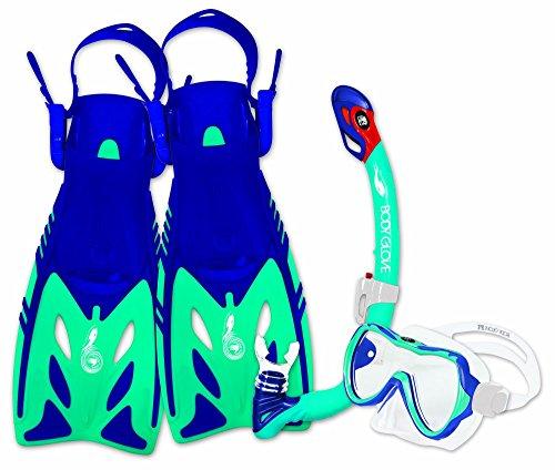 Body Glove Youth JMC Lucent Mask/Snorkel & Fin Set, Blue, Small/Medium