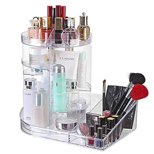 ZQY verstelbare 360 graden roterende make-up doos lade grote capaciteit cosmetische carrousel opslag rack voor toner gezicht crème make-up borstel lippenstift