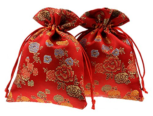 Chinese Style Peony Wedding Favor Boxes Brocade Decorative Boxes Bags 50 Pcs