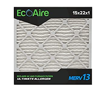 Eco-Aire 15x22x1 MERV 13 Pleated Air Filter 15x22x1 Box of 6 Made in The USA