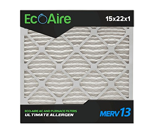 Eco-Aire 15x22x1 MERV 13, Pleated Air Filter, 15x22x1, Box of 6, Made in The USA