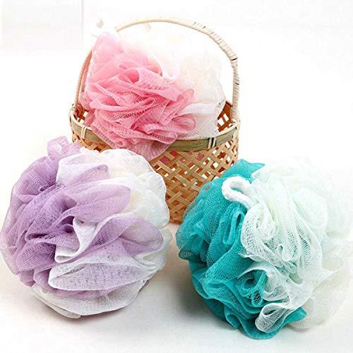 ボディウォッシュボール 泡立てネット スポンジ フラワーボール 超柔軟 シャワー用 風呂 浴室 3 個入 (3 個入, Pink + Purple + Blue)