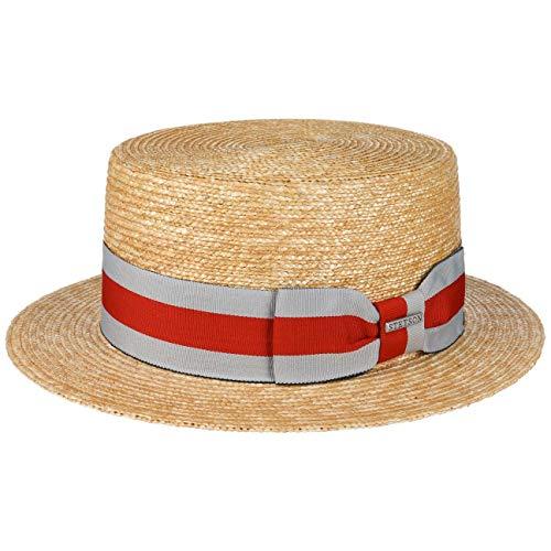 Stetson Sombrero Canotier Wheat Boater Mujer/Hombre - de Sol Verano Marinero con Banda Grosgrain Primavera/Verano - S (54-55 cm) Natural