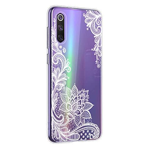 Oihxse Mandala Motif Case Compatible pour Huawei Mate 30 Coque Transparente Silicone TPU Souple Protection Etui Ultra Slim Mehndi Floral Datura Dentelle Housse Bumper (A8)