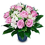 Rosenstrauß mit rosa Rosen und weißen Alstromerien - Blumenstrauß Geburtstag - Inkl. gratis Grußkarte!