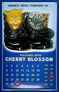 Cherry Blossom Shoe Polish Calendario Cartel de chapa Calendar metal tin sign 20X 30cm