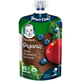 Gerber Organic 2nd Foods Baby Food, Apples, Blueberries & Spinach, 3.5 Ounces (Pack of 12)