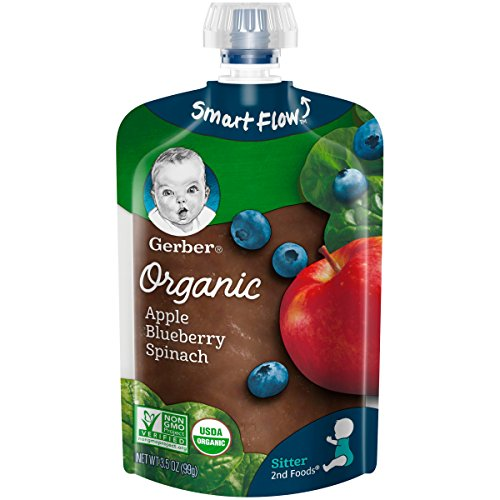 Gerber Organic 2nd Foods Baby Food, Apples, Blueberries & Spinach, 3.5 Oz Pouch, 1 Pack