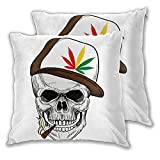 KENADVI Throw Pillow Covers Set of 2,Baseball Skull Smoking Weed Wearing Hat Rastaman Cannabis Addict,Soft Square Pillowcases Cushion Cover Home Couch Sofa Car Bed Room Decor 16'x16'
