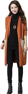 Chaquetas de Punto Mujer Tallas Grandes Suelta Jerseys Suéter Largo Asimetrico Cardigan Manga Larga del Dobladillo Irregul...